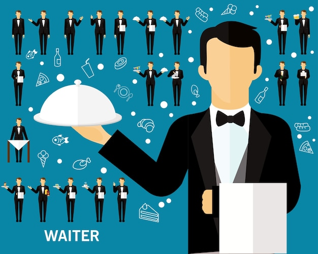 Waiter concept background. flat icons.