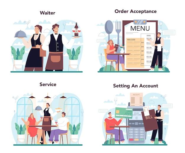 Концепция официанта устанавливает персонал ресторана в единую службу общественного питания