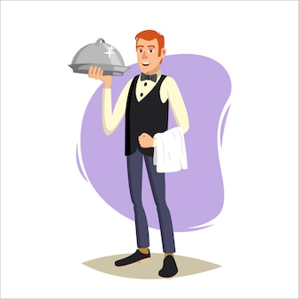 Waiter, cute character