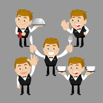 Waiter in different poses
