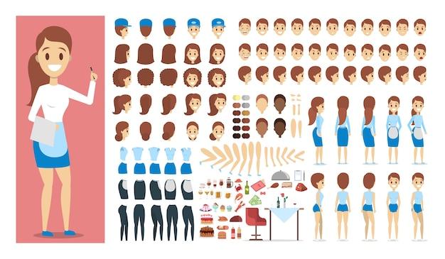 Официант женский персонаж в униформе или комплекте для анимации с различными взглядами, прической, эмоциями, позой и жестом. набор различных продуктов питания и ресторанов. изолированные плоские векторные иллюстрации