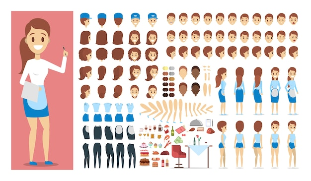 Waiter female character in uniform set or kit for animation with various views, hairstyle, emotion, pose and gesture. different food and restaurant set. isolated flat vector illustration