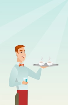 Waiter holding tray with cups of coffeee or tea.
