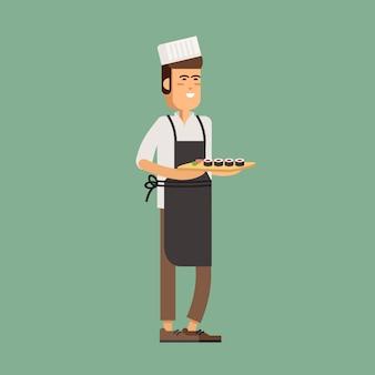 Официант держит поднос с суши