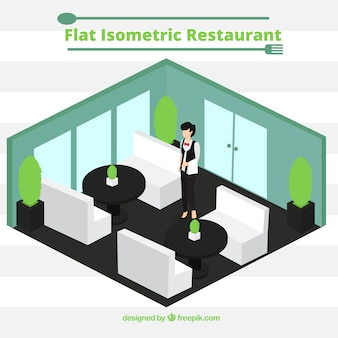 Waiter in the isometric dinning room