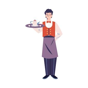 分離された均一なサービング食品フラットベクトルイラストのウェイター男性キャラクター