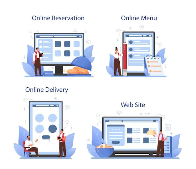 ウェイターオンラインサービスまたはプラットフォームセット。制服を着たレストランスタッフ、ケータリングサービス。