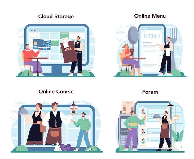웨이터 온라인 서비스 또는 플랫폼은 유니폼을 입은 레스토랑 직원을 설정합니다.