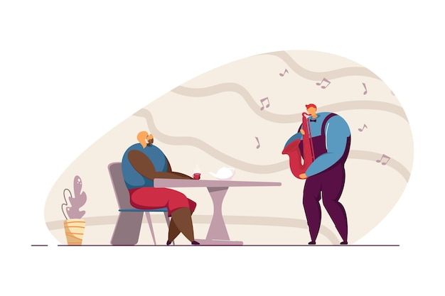 Waiter playing saxophone for female customer. man playing musical instrument at restaurant flat vector illustration. music, entertainment concept for banner, website design or landing web page