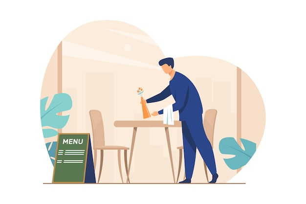 Waiter preparing cafe for opening. restaurant worker cleaning table after customers leaving flat vector illustration. catering, service, job