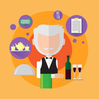 Waiter senior man catering worker icon flat