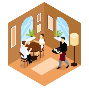 Waiter service isometric composition