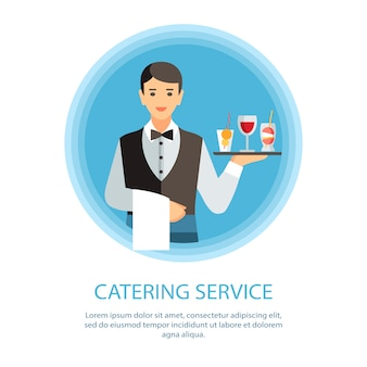 Waiter serving wine and cocktails banner template