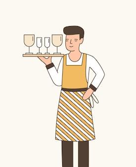 ワインフラットベクトルイラストを提供するウェイター。ワイングラスの漫画のキャラクターとトレイを保持しているエプロンの少年。経験豊富なレストランスタッフ、カフェ従業員。男性のケータリングサービスワーカー。