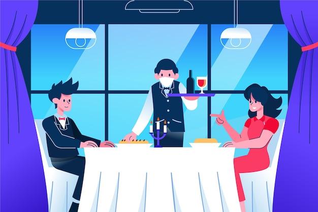 Официант носить маску и порцию