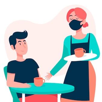 Cameriere che indossa una maschera e serve il tema