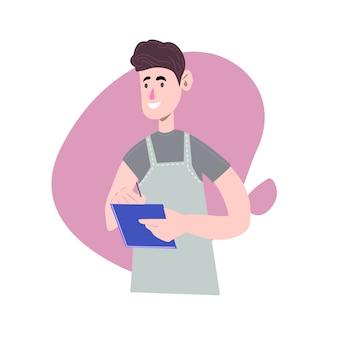 Официант в форме. мультипликационный персонаж. забавный мультипликационный серверный человек. на белом фоне иллюстрация