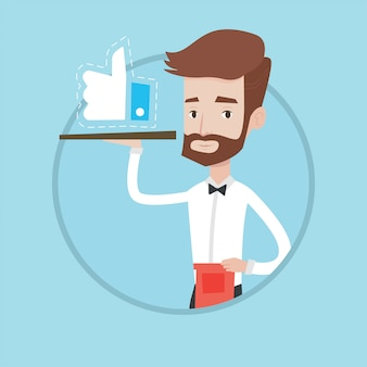 Waiter with like button vector illustration.
