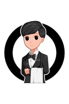 Waiters boy in labor day cartoon illustration