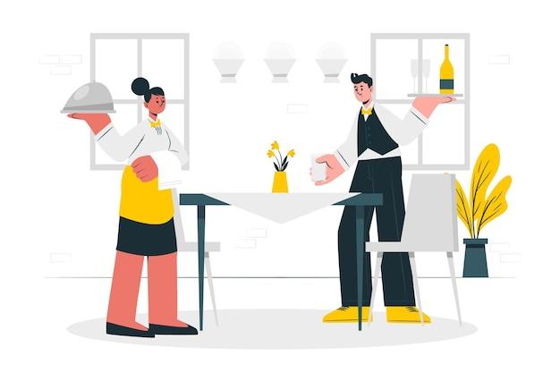 Illustrazione di concetto di camerieri
