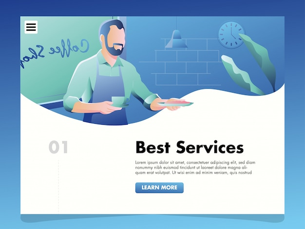 Waiters illustration for landing page template