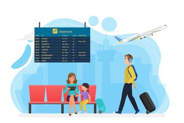 Зона ожидания аэропорта с табло расписания, туристы ждут перевозки рейса