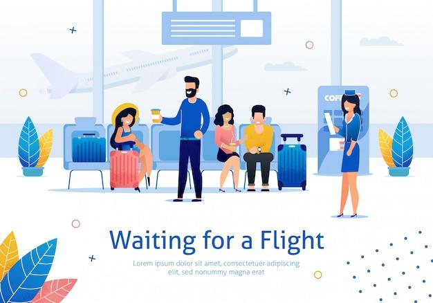 空港フラットバナーでフライトを待っています。