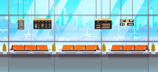 Waiting hall or departure lounge modern airport interior terminal
