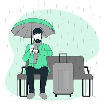 雨の中で待っているコンセプトイラスト