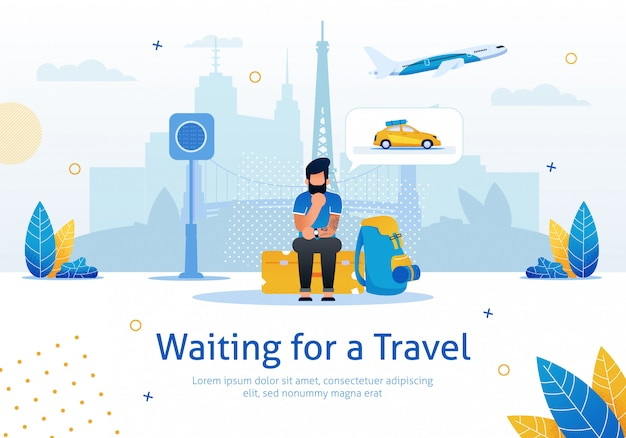 Waiting for travel flat vector promotion banner