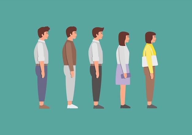 여성과 남성이 줄을 서서 기다리고 있습니다. 사람들의 대기열. .
