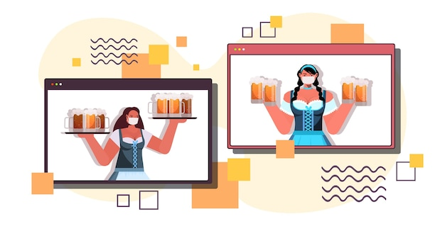 Waitresess in masks holding beer mugs women in web browser windows discussing during video call