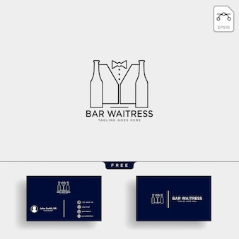 Waitress bar, or waiter creative logo template vector illustration