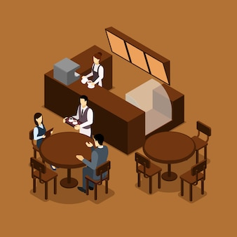 Waitress barista people isometric brown poster