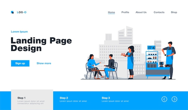 Waitress carrying takeaway coffee to customers in outdoor cafe landing page template