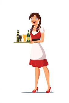 Waitress carrying tray with drinks illustration