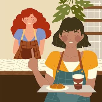コーヒーショップのカウンターのイラストの後ろに食べ物と女性のバリスタとトレイを保持しているウェイトレス