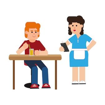 Официантка, читающая счет клиента