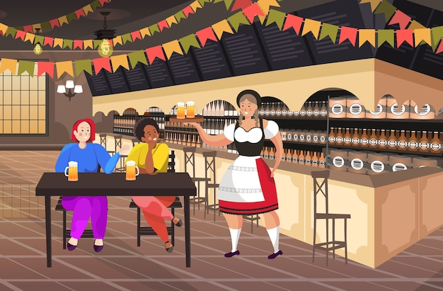 Waitress serving beer to mix race couple in bar oktoberfest party celebration concept friends sitting at table man woman having fun horizontal full length vector illustration