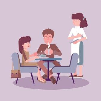 Официантка сервировочный стол плоская цветная иллюстрация