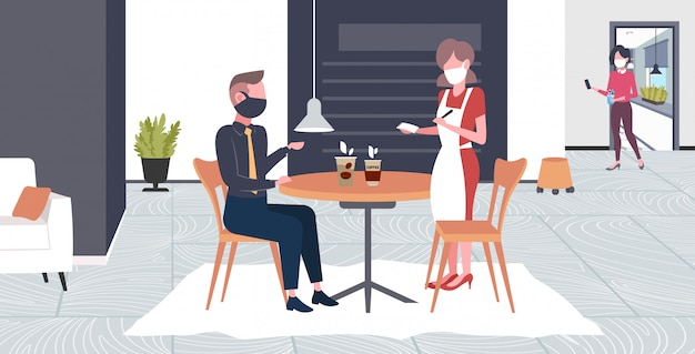 Waitress taking order from client in mask to prevent epidemic mers-cov wuhan 2019-ncov pandemic health risk concept cafe interior full length horizontal