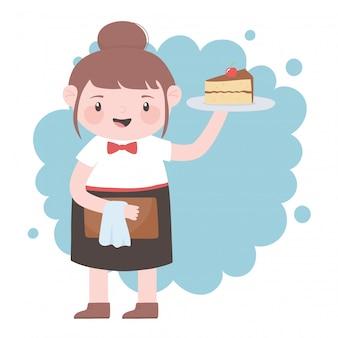 Официантка с тортом и меню мультипликационного персонажа