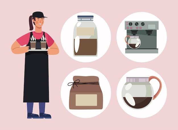 コーヒーアイコンとウェイトレス