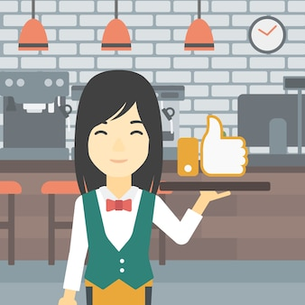 Waitress with like button vector illustration.