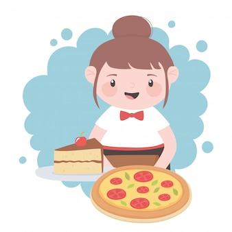 Официантка с пиццей и кусок ckae в блюде мультипликационный персонаж