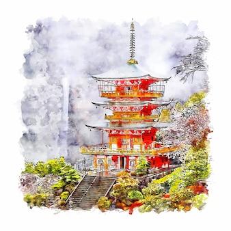 Замок вакаяма япония акварельный эскиз рисованной иллюстрации