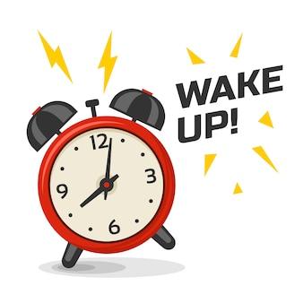 2つのベルのイラストで目覚まし時計を起こします。漫画の孤立した動的な画像、赤と黄色の色の朝の目覚まし時計
