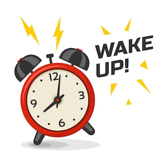 Wake up alarm clock with two bells  illustration. cartoon isolated dinamic image, red and yellow color morning alarm clock