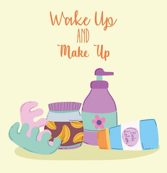 目を覚ますとメイクボディローションクリームスキンケア化粧品製品ファッション美容イラスト