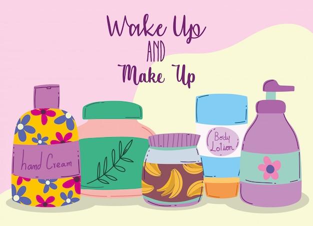目を覚ますとメイクアップ化粧品ファッション美容ボディローションハンドクリームとスキンケア製品イラスト